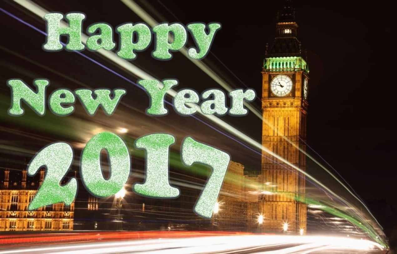 Happy New Year 2017 with clock tower on background