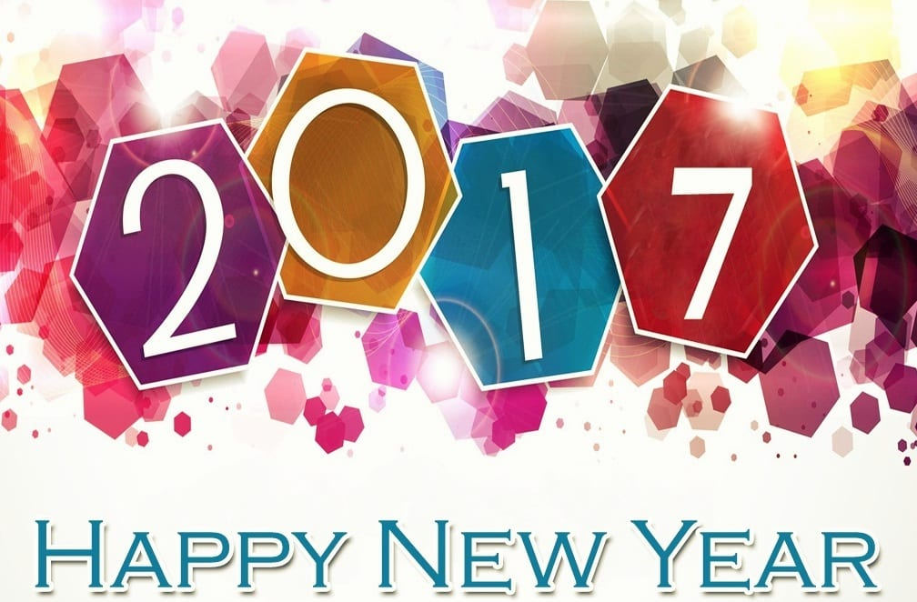 Happy New Year 2017 with color stains