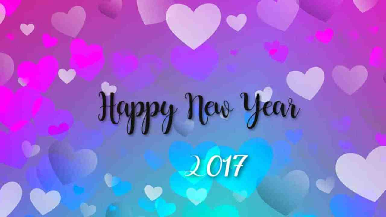 Happy New Year 2017 with colourful hearts