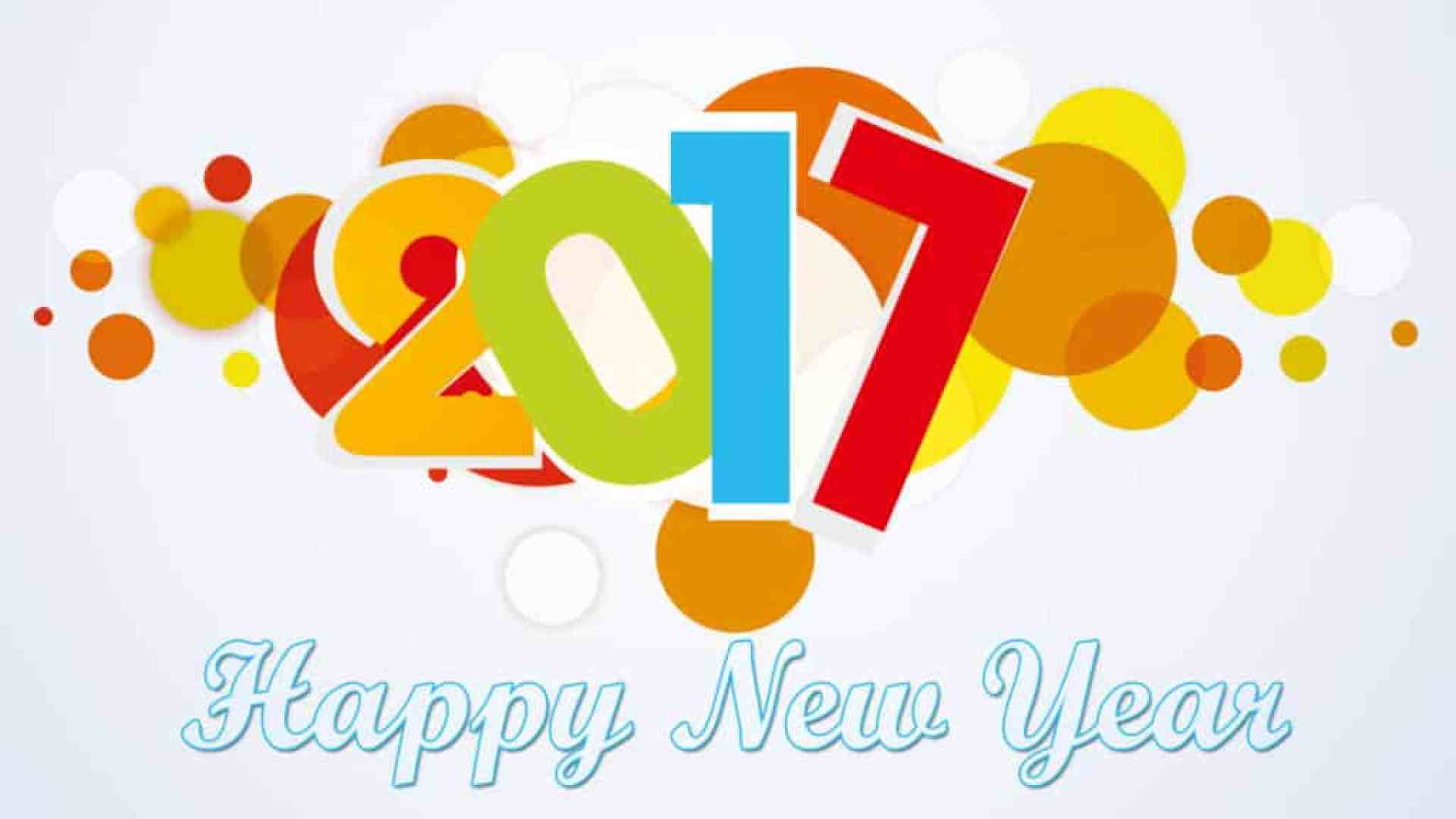 Happy New Year 2017 with dotted multi color background
