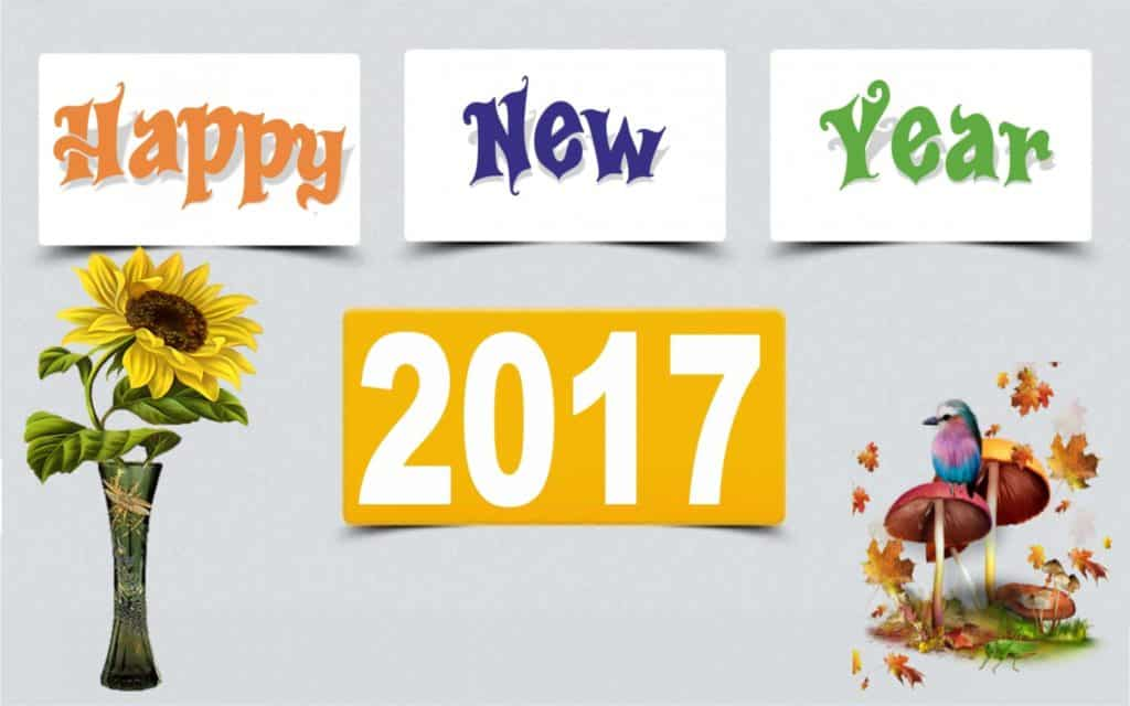 Happy New Year 2017 with flowe vase and bird