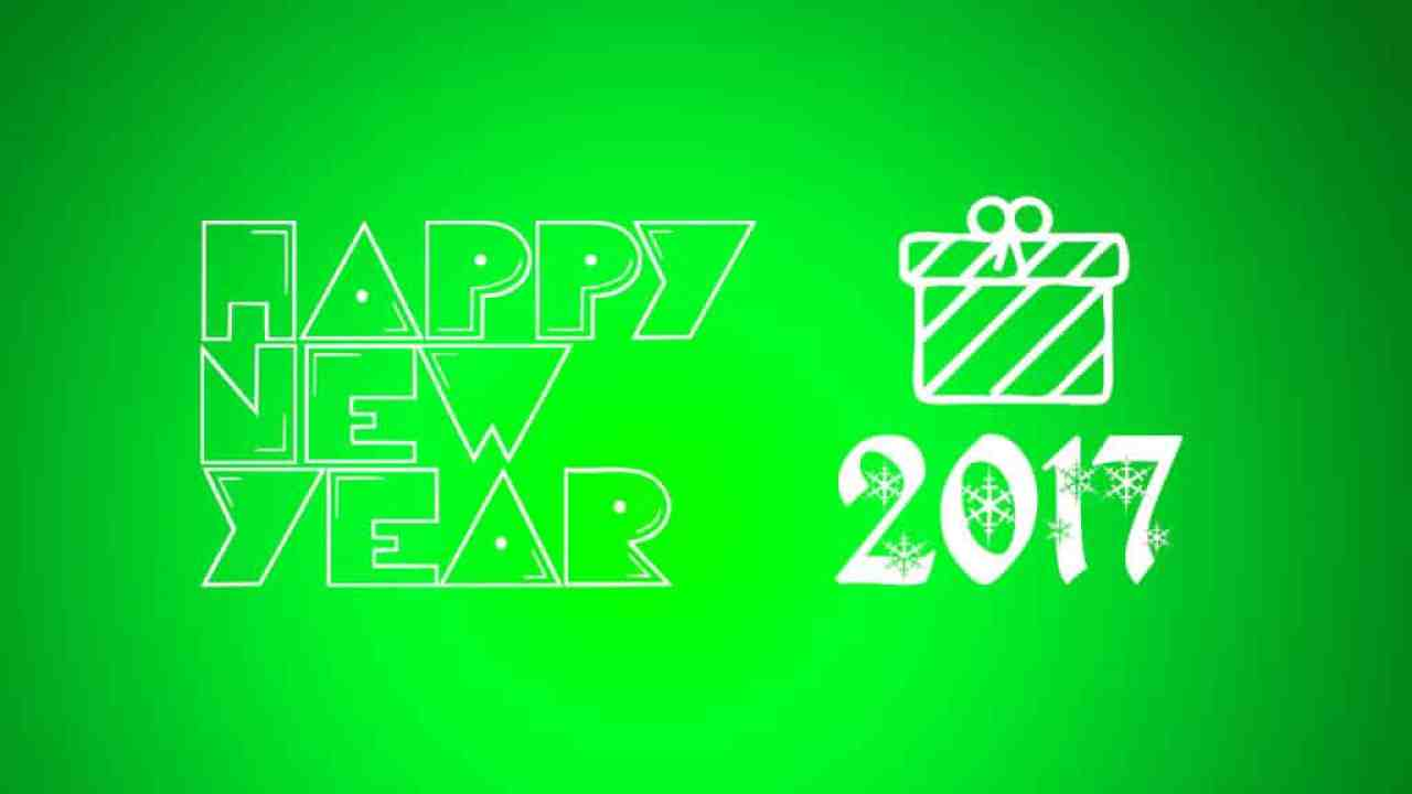 Happy New Year 2017 with green background
