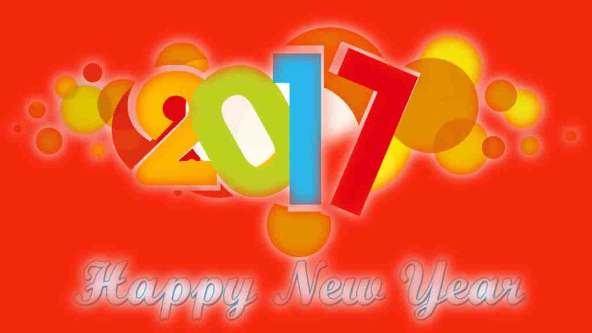 Happy New Year 2017 with orange background