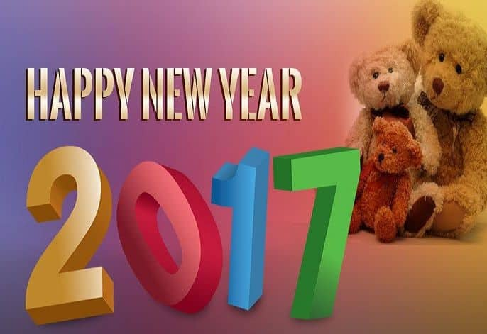 Happy New Year 2017 with teddy bears