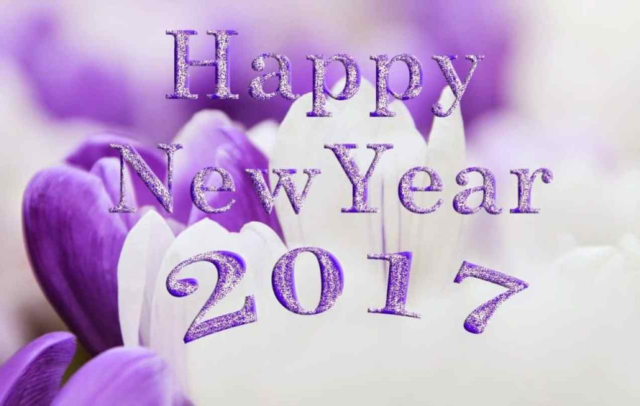 Happy New Year 2017 with violet background
