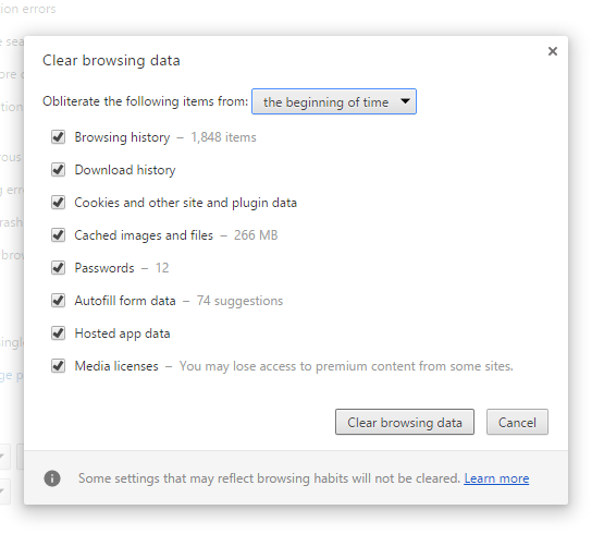 Clearing Browsing Data to make Google Chrome faster