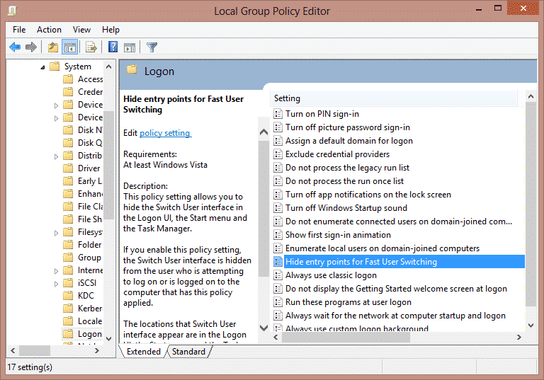 Hide entry points for Fast User Switching to Use Local Group Policy Editor to Disable Fast User Switching On Windows 7, 8, 8.1 and 10