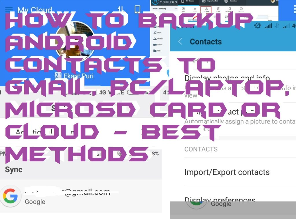 How to Backup Android Contacts to Gmail, PC-Laptop, MicroSD Card or Cloud - Best Methods