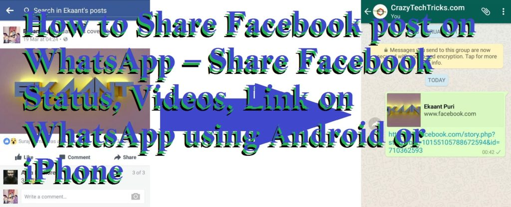 How to Share Facebook post on WhatsApp – Share Facebook Status, Videos, Link on WhatsApp using Android or iPhone