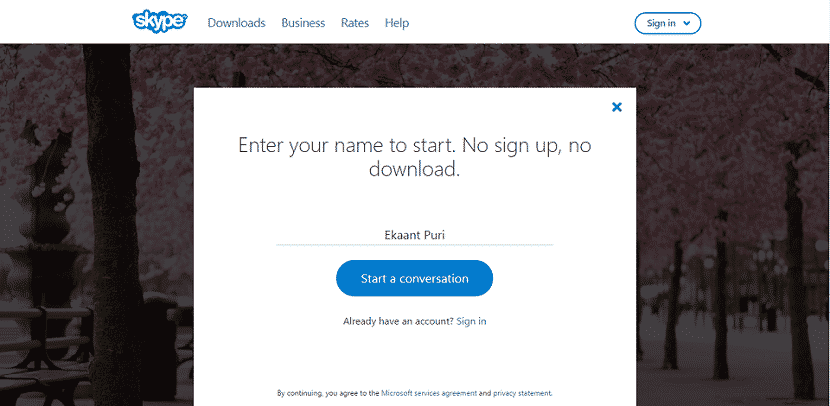 "enter your full name and again click on ""Start a conversation"" button Use Skype Without Microsoft Account"