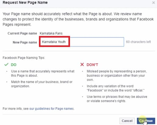 request new page name - facebook page