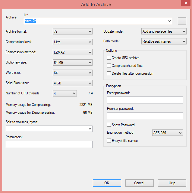 compression level to Ultra - How to Compress Large Files to Smaller Size - 10 GB 210 MB Proof