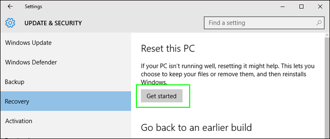 Click on the Get Started button under Reset this PC option- How to Reset Windows 10 on PC-Laptop Without any Software- CD or Password