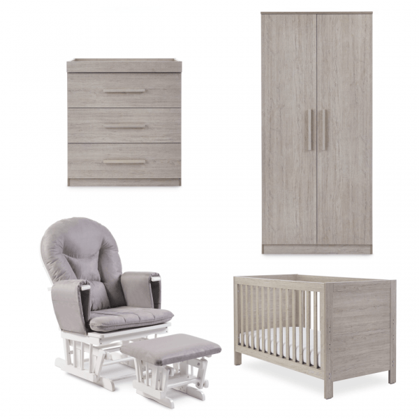 Ickle Bubba Grantham 5 Piece Set with Pocket Sprung Mattress - Grey Oak