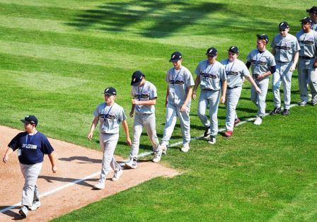 Members of the Jamestown Babe Ruth League take the field during the World Series held in Jamestown in 2011. P-J File Photo