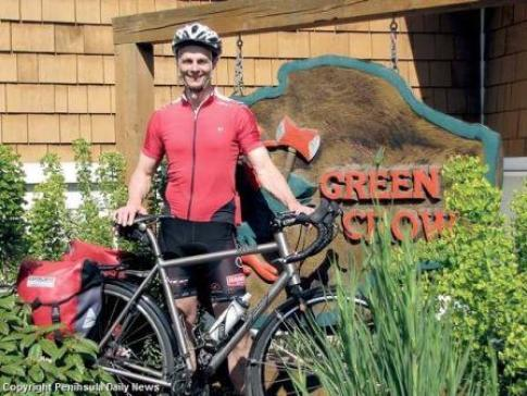 Tom Swanson is riding his bike from Port Angeles, WA to Panama NY this summer. Photo by Peninsula Daily News/peninsuladailynews.com
