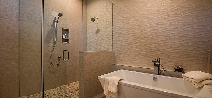 Tile shower and soaking tub