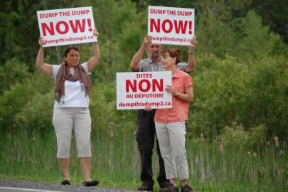 Residents protesting roadside