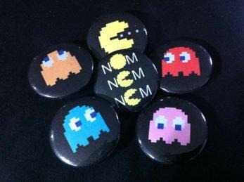 Pac Man buttons (Six)