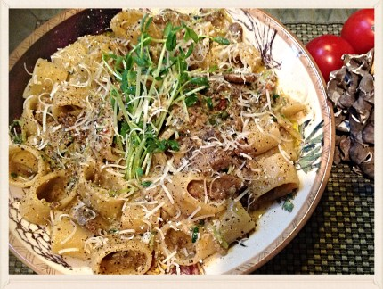 Pasta with Mushrooms and Pea Shoots