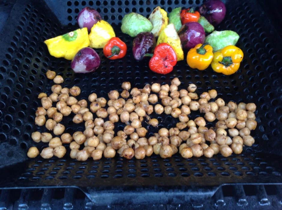 grilled chickpeas and baby veggies