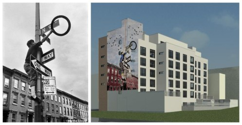 "Left: The chosen photograph for the upcoming mural from Martha Cooper's ""Street Play Project,"" depicting a teenager who scavenged the city for bicycle parts to craft his own stylized inventions. Right: Chris Stain's interpretation of Martha Cooper's photograph for the mural that will be placed on a new building on Smith St. & Pacific Ave this Spring."