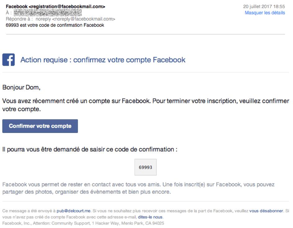 Email envoyé par Facebook contenant le code de validation