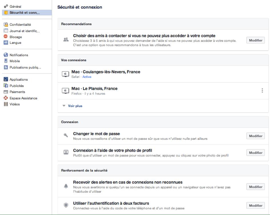 Facebook - Sécurité et connexion