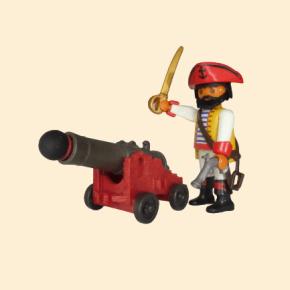 Pirate à tricorne rouge avec canon