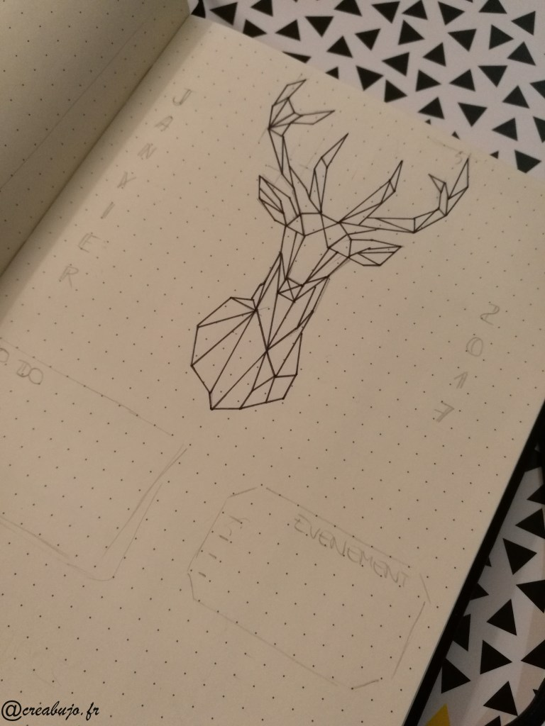 Bullet journal Monthly log Dessin géométrique Cerf