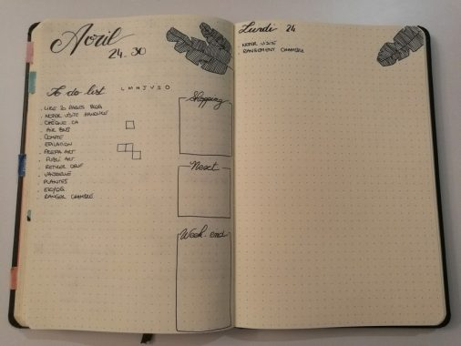 Weekly spread - Bullet journal