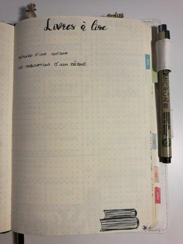 Liste livres à lire - Bullet journal
