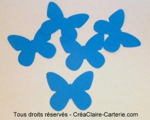 Embellissement de carte ou decoration ''papillon uni ''bleu vif