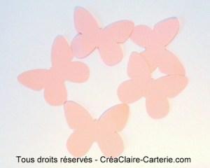 Embellissement de carte ou decoration ''papillon uni '' rose clair