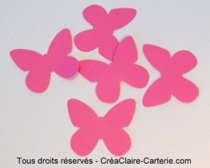 Embellissement de carte ou decoration ''papillon uni '' rose vif