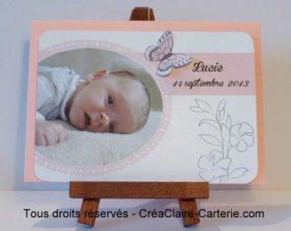 """Faire part de naissance """"Doux papillon"""" - Face"""