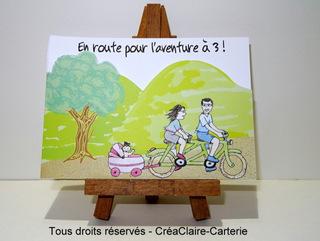 """Carte félicitation naissance illustrée """"Tous à vélo"""" - Ref: MOD-009"""