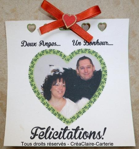Carte de félicitations mariage vendange personnalisée photo- Intérieur