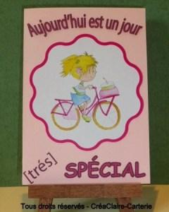 Carte anniversaire personnalisé rose dessin vélo fille-face