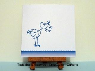 faire part naissance personnalisé photo cigogne bleue- face