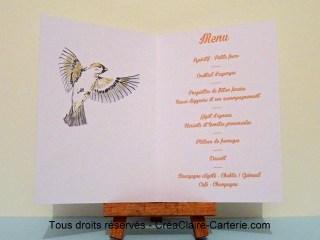 menu anniversaire 90 ans personnalisé illustré oiseaux encre-intérieur
