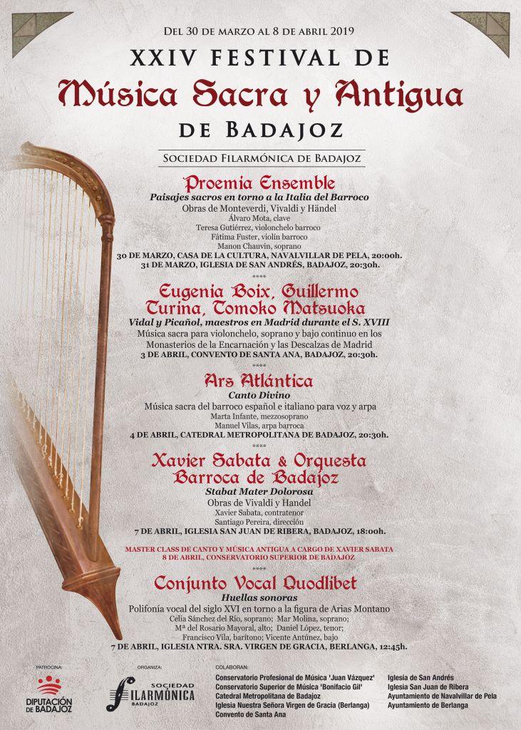 Cartel XXIV Festival de Música Sacra y Antigua de Badajoz