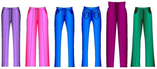 Diferentes aflojes en el diseño de pantalones