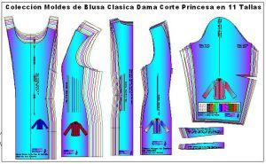 Plantillas de moldes de blusa corte princesa