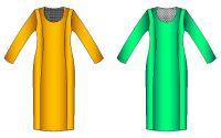 Tallaje de vestido clasico corte princesa de dama