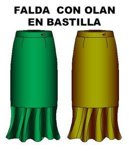 Tallaje de faldas con olan en bastilla.