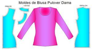 Moldes de blusa tipo pulover de dama con cuello redondeado