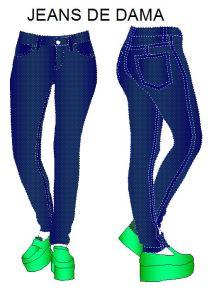 Moldes de pantalones vaqueros de mezclilla en tallas comerciales