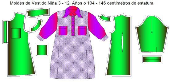 Tallaje de moldes digitalizados para coser vestidos de niñas de 3 a12 años de edad