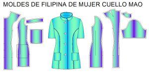 Tallaje de moldes para fabricar filipinas de mujer cuello mao o mandarin